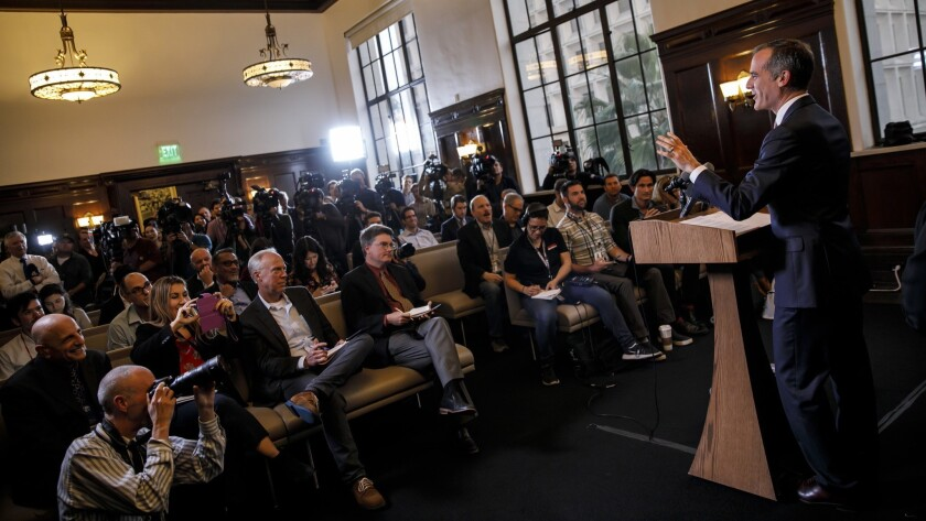 At City Hall, L.A. Mayor Eric Garcetti announces that he will not run for president.