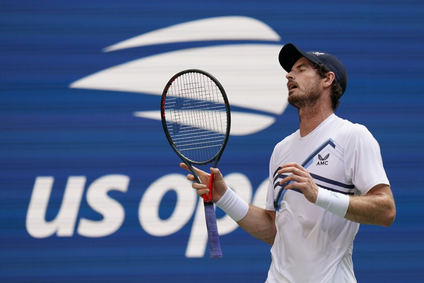 Andy Murray reacts after losing a point to Stefanos Tsitsipas during the first round of the U.S. Open on Monday.