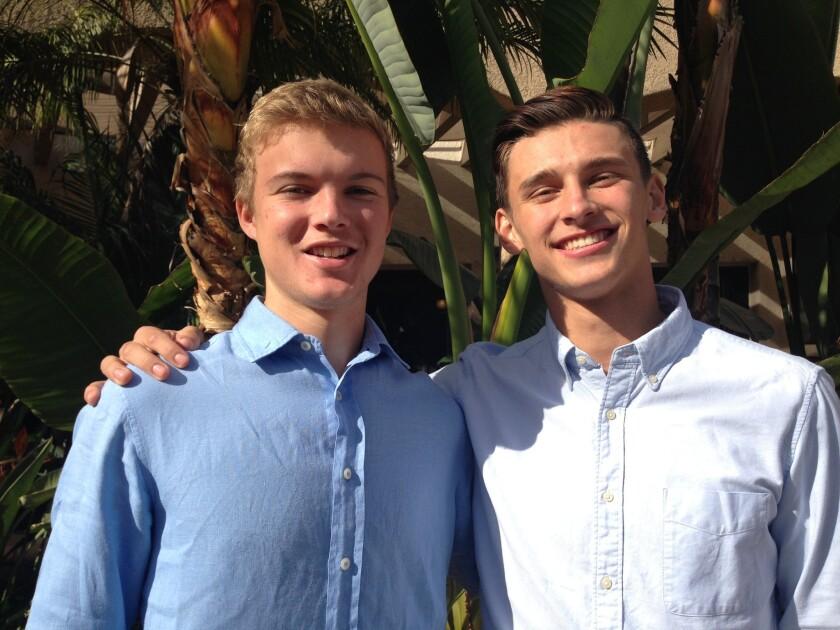 San Marino quarterback Carson Glazier, left, and receiver J.P. Shohfi have been best friends since grade school.