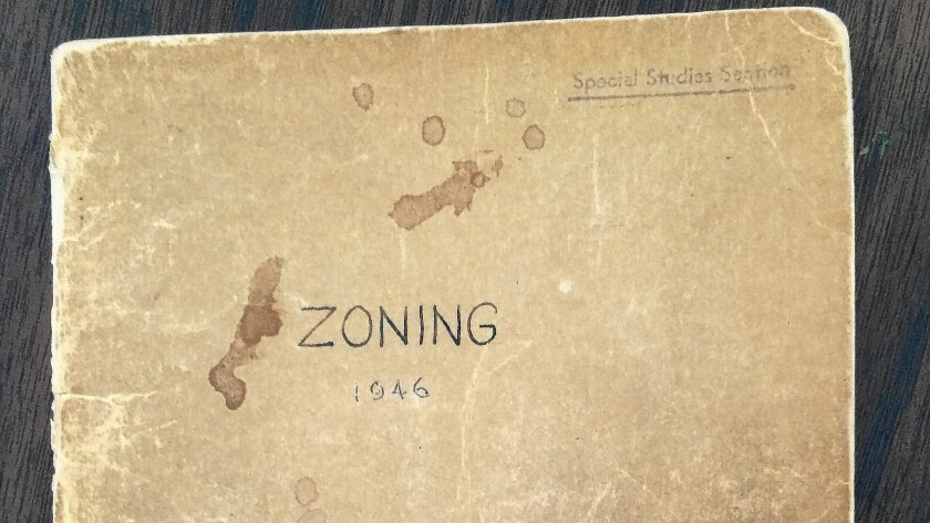 An original copy of Los Angeles' 1946 Zoning Code. The code has swelled from 96 pages to more than 800.