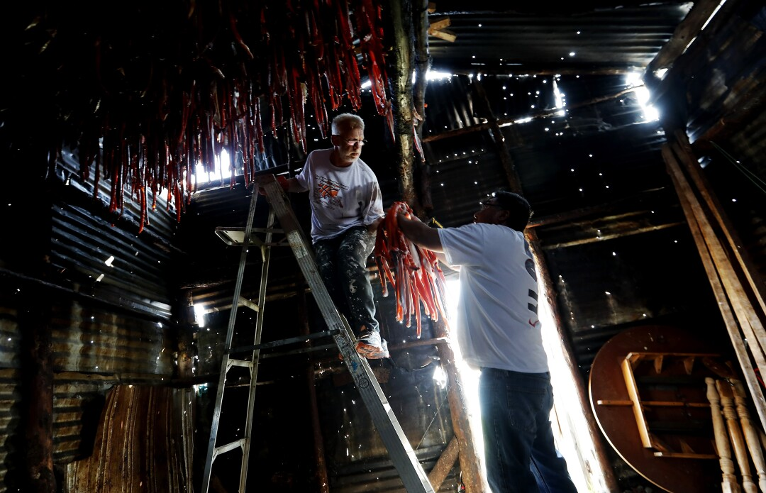 Bob Rychkjovski and Jack Paine hang salmon strips in Newhalen, Alaska.