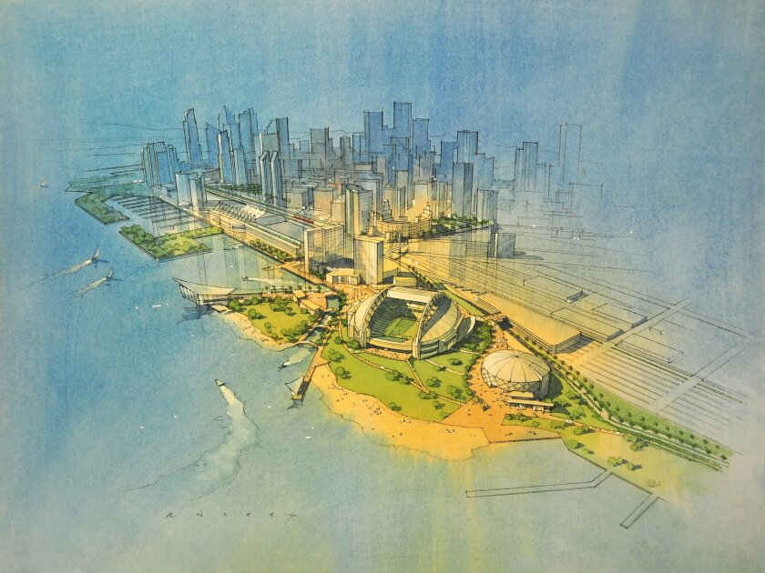 This artist's rendering the depicts the concept that appeared in the U-T San Diego recently for a sports and entertainment complex on the site of the 10th Avenue Marine Terminal.