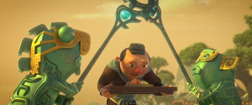 """A man with his head bowed carries a tray of food between two green creatures in the animated movie """"Ne Zha."""""""