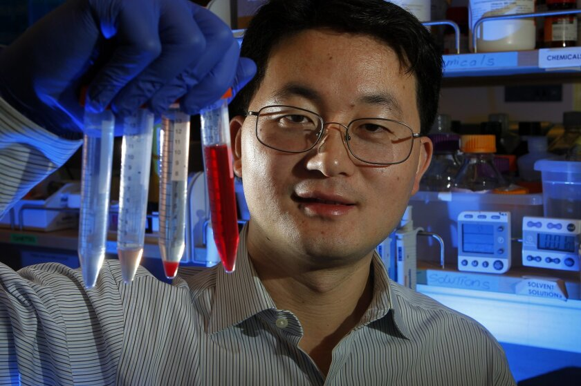 Liangfang Zhang, a nanoengineer at UC San Diego, is coating drug-filled particles with the skin of red blood cells in hopes that something natural will disguise something fake from the immune system, which flushes out invaders.