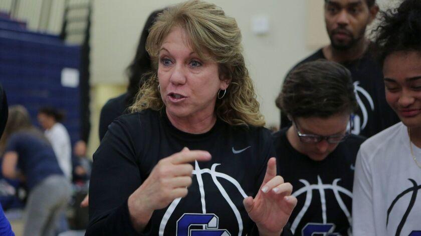 La Jolla Country Day basketball girls basketball coach Terri Bamford. photo by Bill Wechter