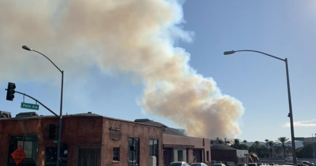 Petugas pemadam kebakaran bekerja untuk mengandung api di Hollywood Hills di dekat Warner Bros Studios banyak