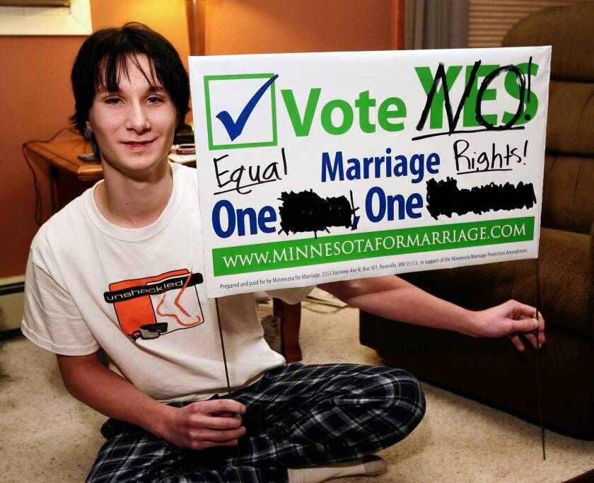 Catholic teen's gay marriage stance unsettles Minnesota town