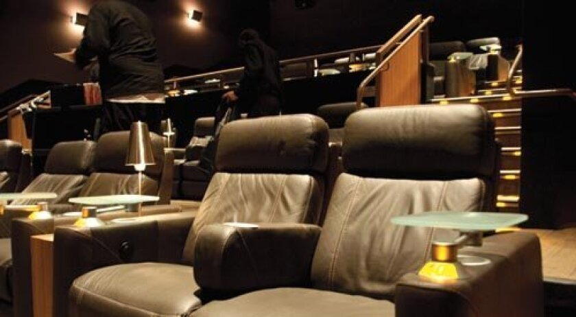 Leather seats line the Cinepolis theater in Carmel Valley. Photo: Claire Harlin/Del Mar Times