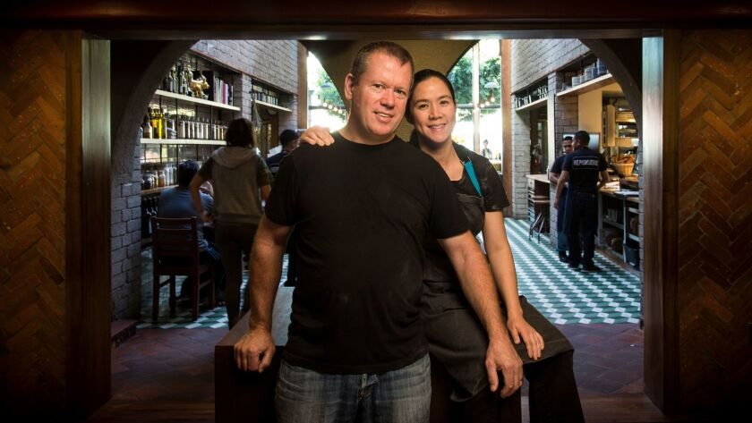 Husband-and-wife chefs Walter and Margarita Manzke at their La Brea Avenue restaurant République.