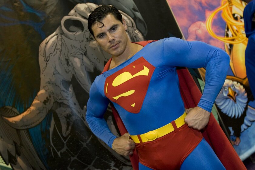 At Comic-Con International 2009, Michael Duran from Anaheim poses in his Superman costume.