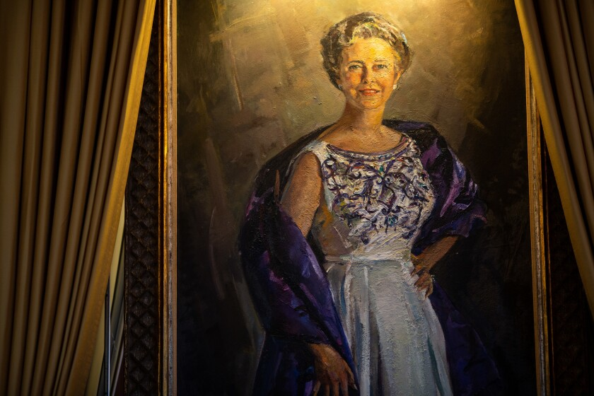 LOS ANGELES, CALIF. - APRIL 24: A portrait of the late Dorothy Chandler hangs in the The Founders Ro