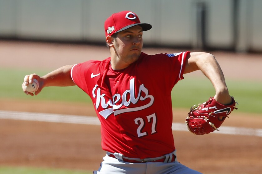 Trevor Bauer of the Cincinnati Reds pitches in the second inning of the Wild Card Series opener against Atlanta last week.