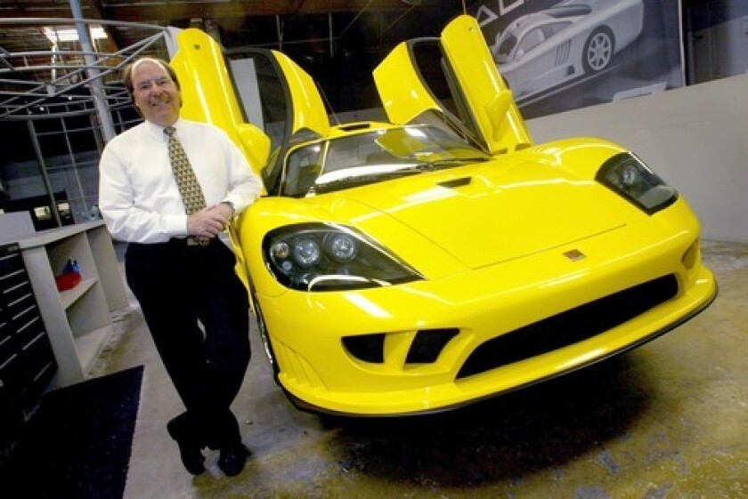 Steve Saleen poses with the Saleen S7 at his Irvine plant in 2003.
