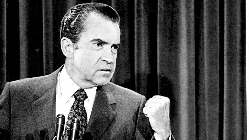Richard Nixon at a news conference