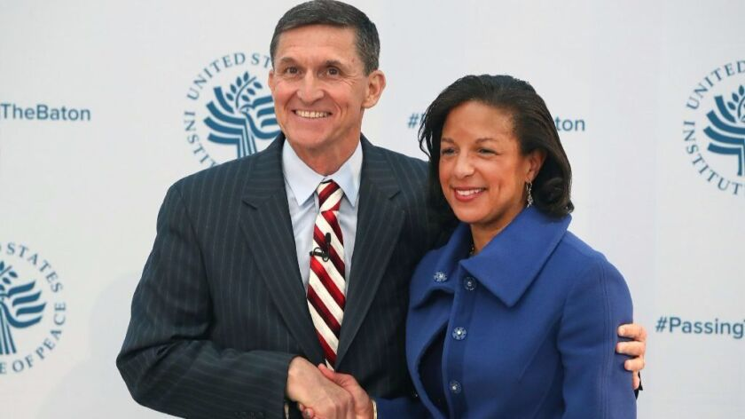 White House national security advisor Susan Rice with her designated successor, retired Gen. Michael Flynn.