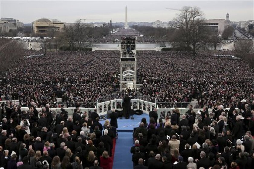 President Barack Obama gives his Inaugural address on the West Front of the Capitol in Washington, Monday, Jan. 21, 2013, during the ceremonial swearing-in ceremony during the 57th Presidential Inau