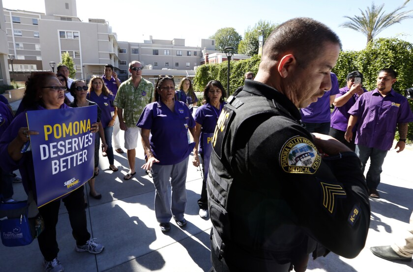 More than 300 healthcare workers and supporters rallied in front of Pomona Valley Hospital on Oct. 19 to push back against hospital officials who workers say have put profits above quality and affordable patient care.