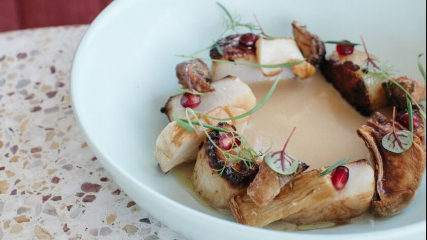Coquille, a scallop dish with sunchokes, abalone mushrooms and vin jaune sauce at Jeune et Jolie, a nouvelle French restaurant that opened Dec. 15 in Carlsbad Village.