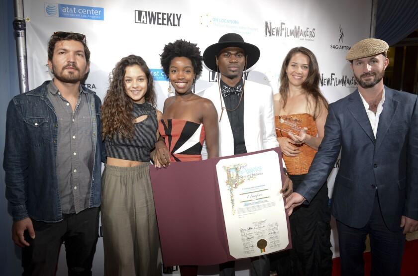 Filmmakers Marco Antonelli, Noa Belillti, Nichole Jones, Bunmi Solomon, Alyssa Cavin and Alessandro Circiello attend the NewFilmmakers L.A. event Oct 11.