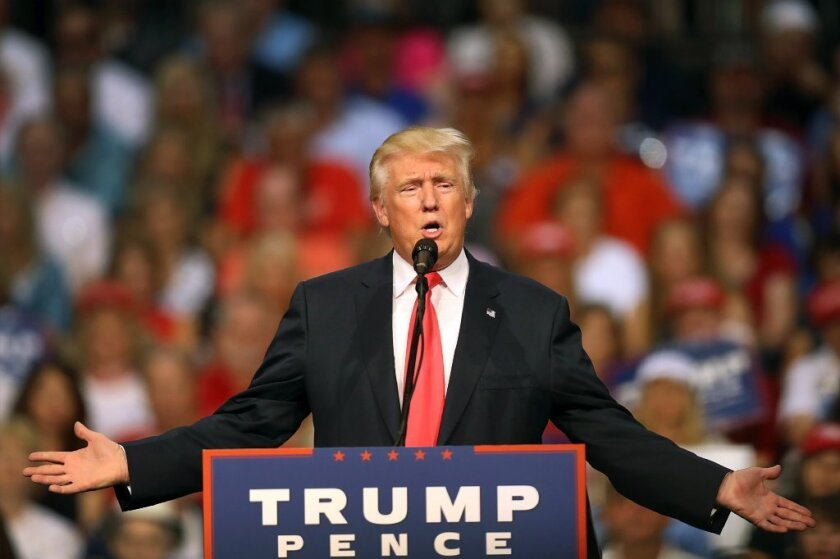 Donald Trump speaks at a campaign event in Daytona, Fla., amid controversy surrounding his criticism of a Gold Star family.