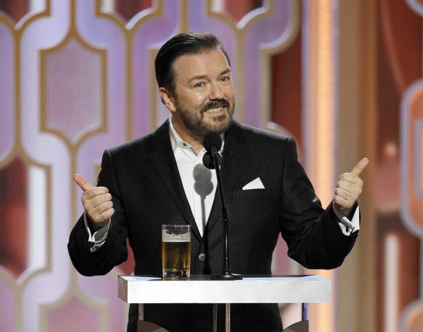 Ricky Gervais hosts the 73rd Golden Globe Awards at the Beverly Hilton Hotel in Beverly Hills on Jan. 10, 2016.