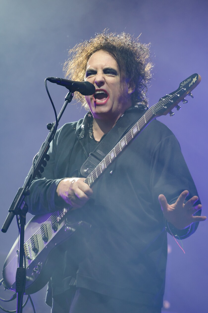 The Cure's Robert Smith at the Glastonbury Festival on June 20.