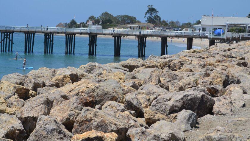 Rocks near the beach just north of the Malibu Beach Inn in Malibu.