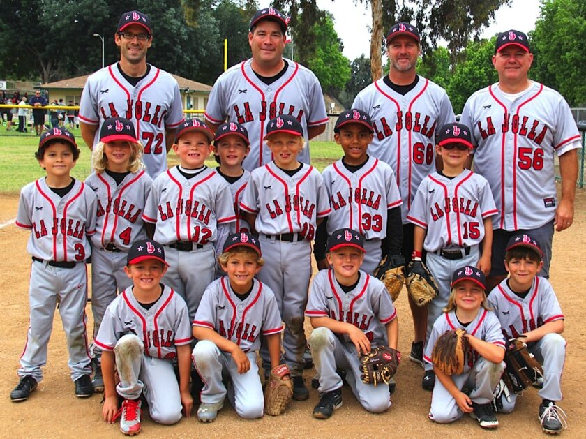La Jolla Youth Baseball's Pinto 7U runner-up team with coaches Paul DePodesta, Brad Kates, Craig Beck and Charles Hartford