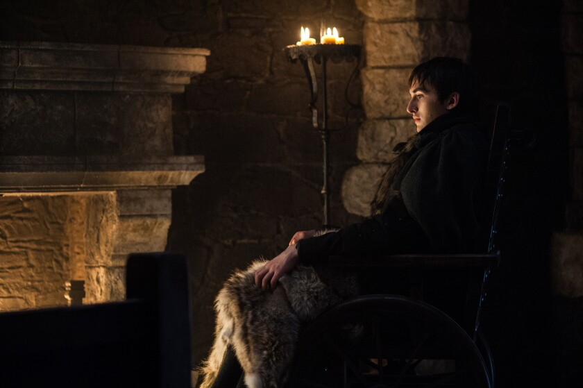 "Isaac Hempstead Wright as Bran Stark in the ""Game of Throne"" episode ""The Dragon and the Wolf."""
