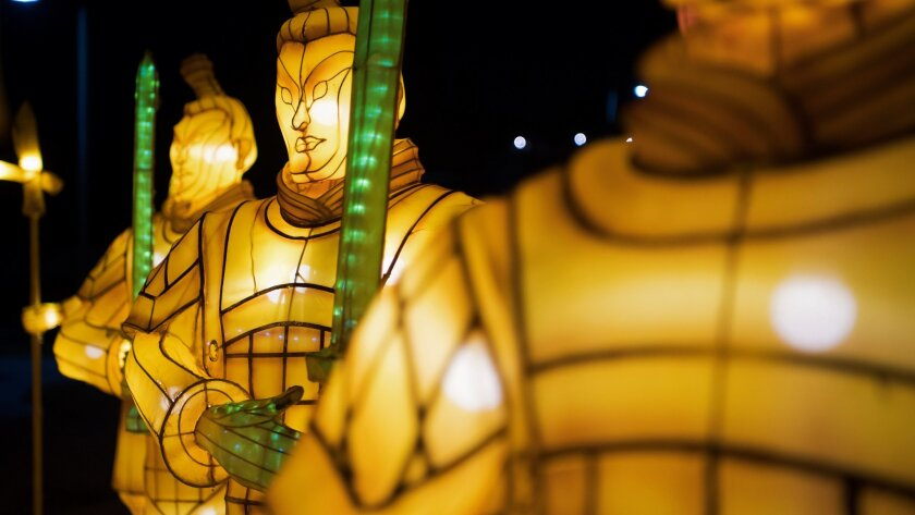 Terra cotta warriors stand at attention on the opening night of the China Lights lantern festival Fr