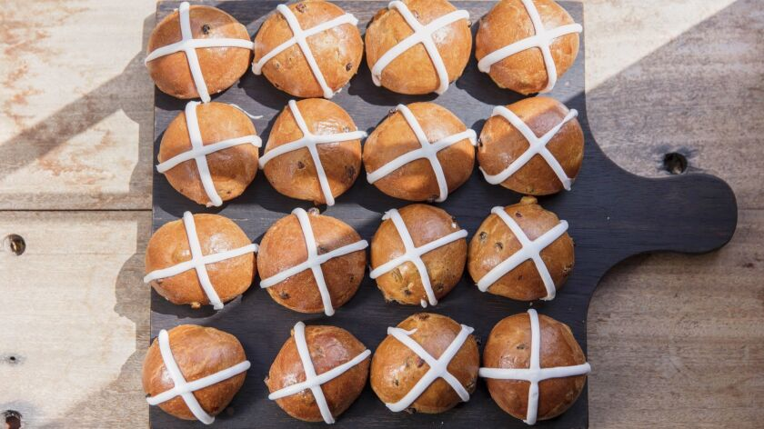 LOS ANGELES, CALIFORNIA - MAR. 20, 2019: Hot cross buns baked by Margarita Manzke, chef and co-owne