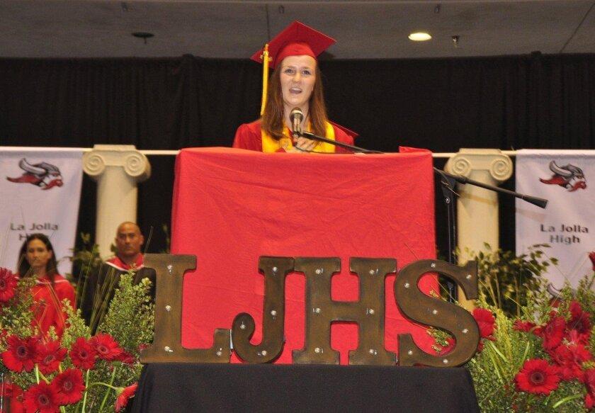 Stephanie Buchbinder recites the Pledge of Allegiance. (La Jolla High School's Class of 2016 graduation ceremony, June 21 at UC San Diego's RIMAC Arena)