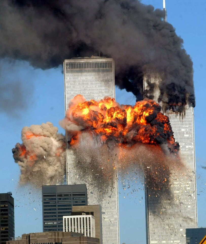 A fiery blast rocks the south tower of the World Trade Center as the hijacked United Airlines Flight 175 from Boston crashes into the building Sept.11, 2001, in New York City.