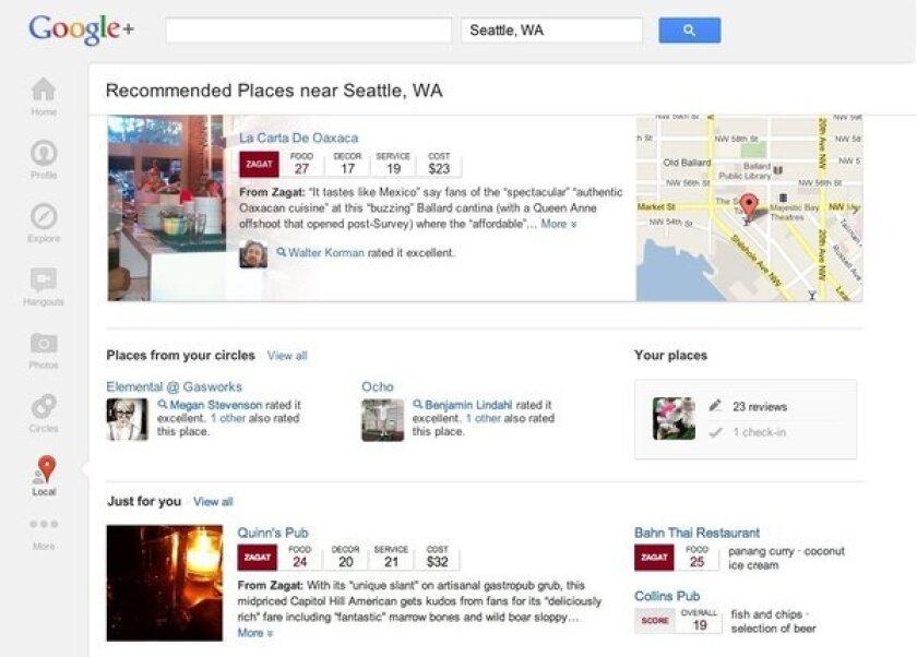 A screenshot of Google+ Local