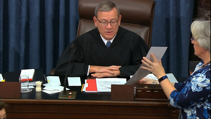 Chief Justice John G. Roberts Jr. presides over Senate impeachment trial