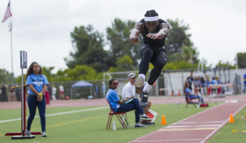 Olympian's Antonio Riggins finished first in the triple jump at Saturday's San Diego Section track and field championships.