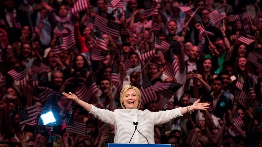 Hillary Clinton celebrates on Tuesday night.
