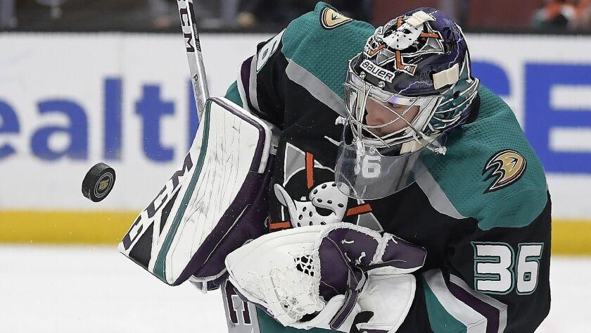 Ducks goaltender John Gibson stops a shot against the Tampa Bay Lightning on Dec. 31.