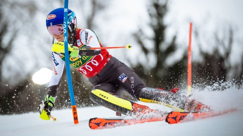 Mikaela Shiffrin makes her first run of the World Cup slalom event at Maribor, Slovenia on Saturday.