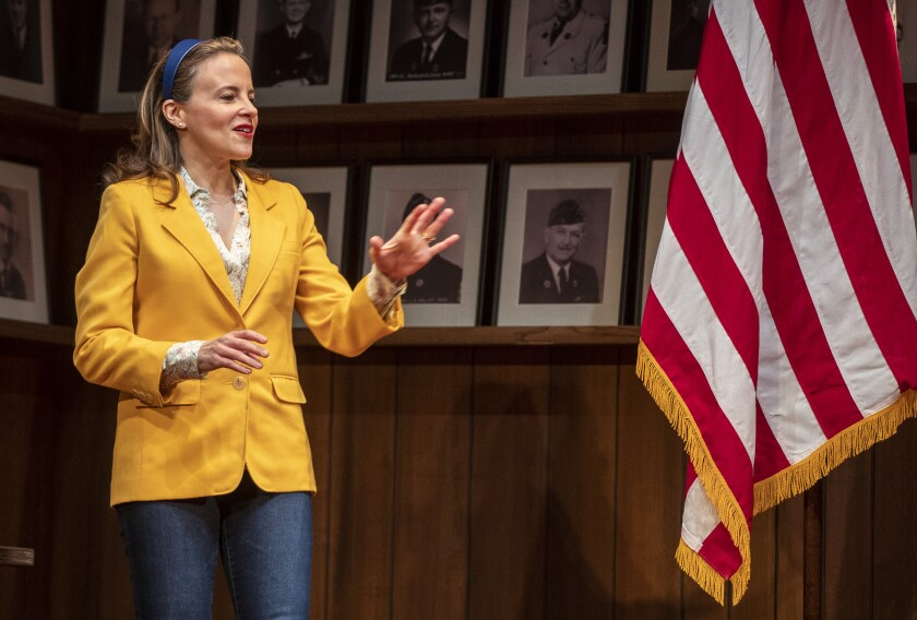 "Maria Dizzia performs in ""What the Constitution Means to Me"" during a dress rehearsal at the Mark Taper Forum."