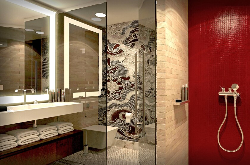 The bathroom inside a standard guest room (artist's rendering).