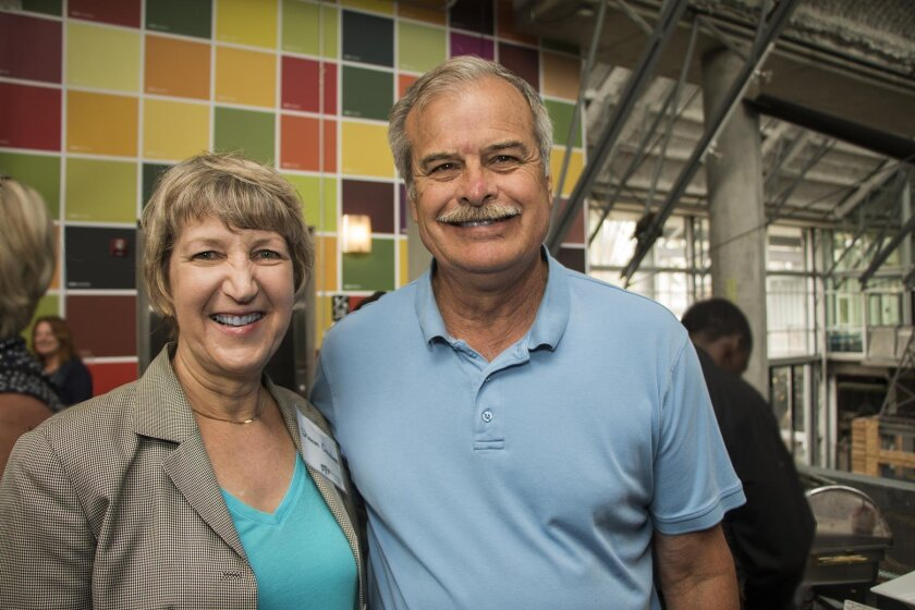 Sharon Omahen, one of the founders of the original Children's Museum, with her husband Jim Mosher at the preview reception