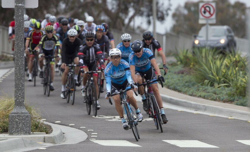 Troy Huerta is in the lead at the start of a Swami's Cycling Club ride from Carlsbad to San Onofre.