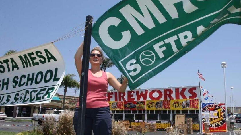 Annual fireworks sales provide Costa Mesa school groups and nonprofits a chance to raise money for programs, but restrictions against gatherings during the pandemic could hurt sales, city officials said.