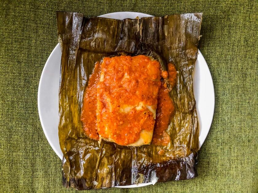 Jalapeno and cheese tamal from Mi Ranchito Veracruz, steamed in banana leaf.