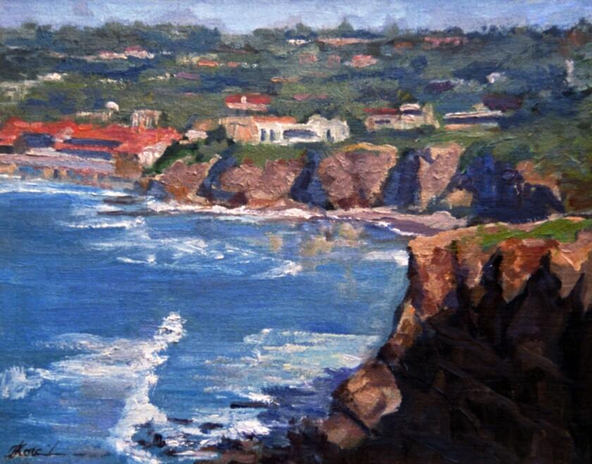 The painting Patrick Korch sold, depicting La Jolla.
