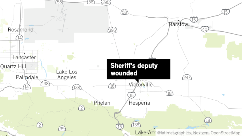 A San Bernardino County sheriff's deputy was injured in the 15000 block of 7th Street in Victorville.