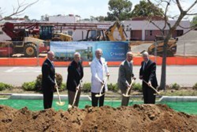 From left: Carl Etter, Chief Kevin Crawford, Dr. Michael Lobatz, RSF's Tyler Miller and Jim Ashcraft join in at the groundbreaking ceremony for the new Scripps Encinitas Critical Care Building.