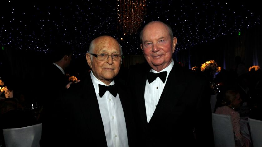 Producer Norman Lear and Jerry Perenchio at a Walt Disney Concert Hall gala in 2013.
