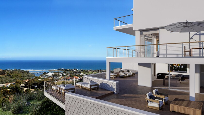 Artist's rendering: The new home is 12,500 square feet and offers views of Santa Monica Bay and Catalina Island as well as Malibu Canyon.